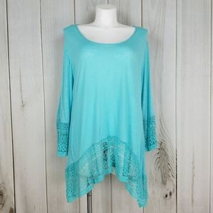 Indigo Soul | Boho Teal Blue Lace Tunic